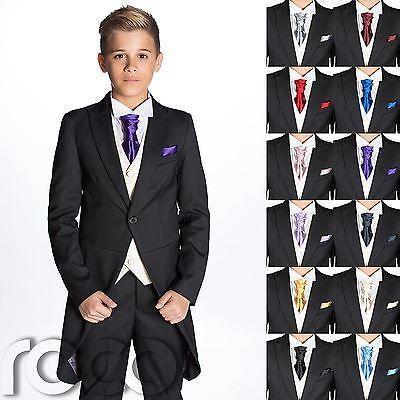Boys Black Suit, Page Boy Suits, Boys Morning Suit, Boys Cravat & Pocket Square