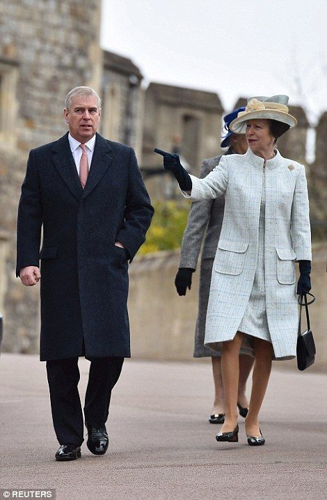 dailymail:  Easter Service, Windsor Castle, April 5, 2015-Duke of York and his sister the Princess Royal