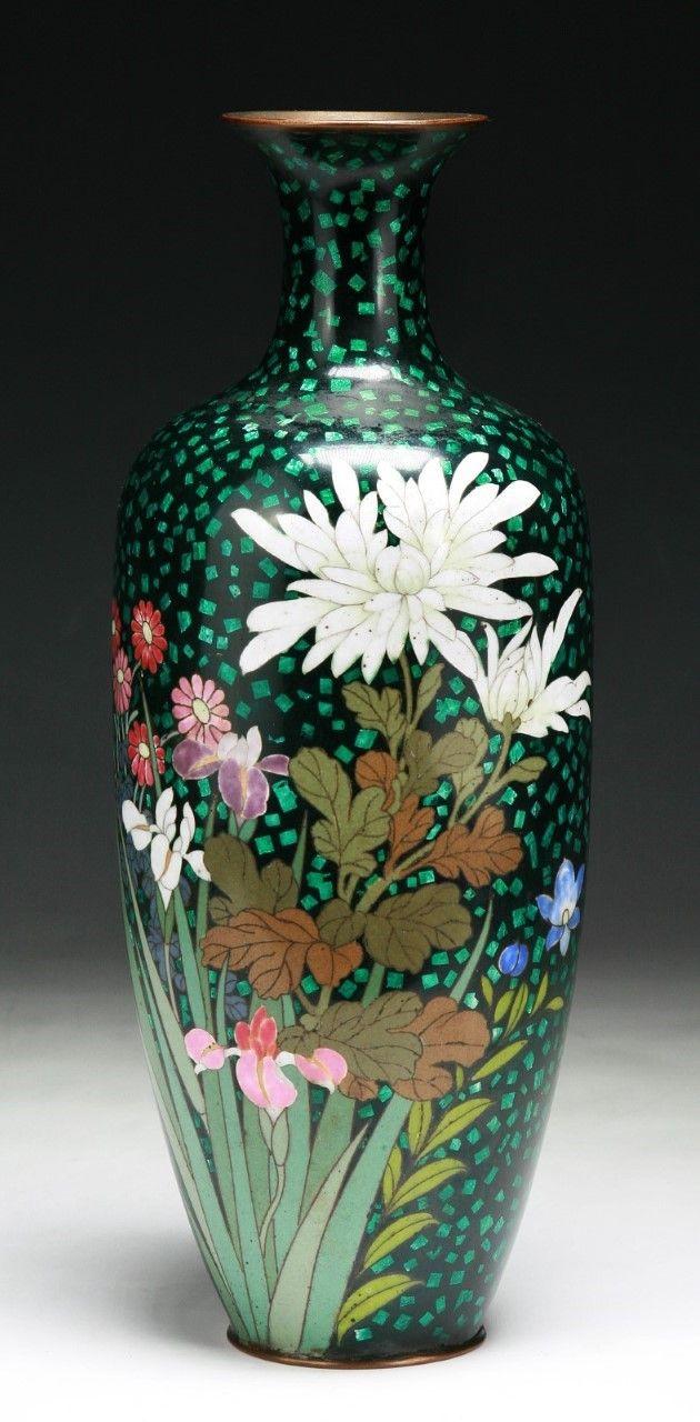 Lot 50: A Japanese Antique Silver Ando Cloisonne Vasehttp://www.invaluable.com (