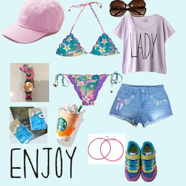 「カジュアル、晴れの日、プール、海、女同士、ハワイ、ピンク、パープル、水着、ビキニ」に関するGRLのTシャツ/カットソー、VENCEEXCHANGEのショートパンツ等を使ったコーデ画像