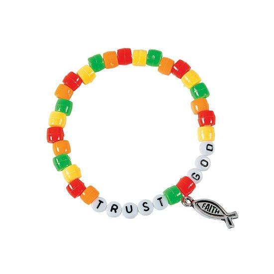 Kingdom Rock VBS Crafts   Kingdom Rock VBS / Trust God Pony Bead Bracelet Craft Kit ...
