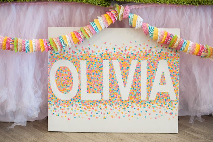 Cupcake Liner Garland + Name Sign from a Sprinkles + Confetti Birthday Party via Kara's Party Ideas | KarasPartyIdeas.com (20)