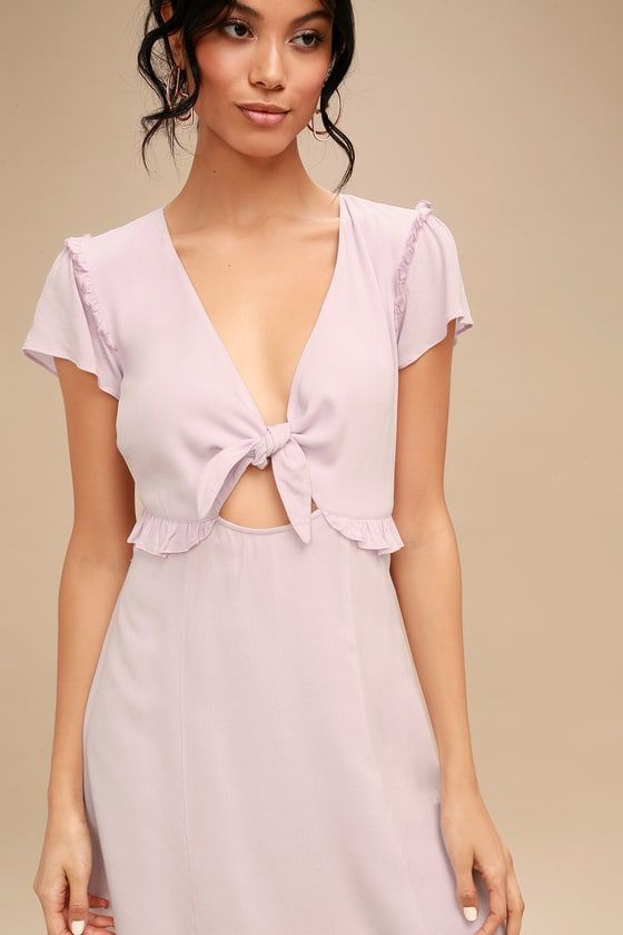 Feel the fresh ocean air in the Seaport Lavender Tie-Front Dress!  Lightweight woven
