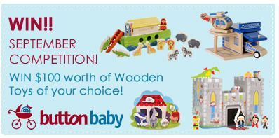 """Have you entered Button Baby's wooden toy giveaway? Win $100 worth of wooden toys from Button Baby!"""