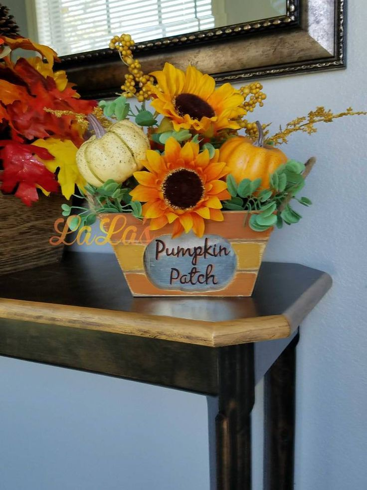 Pumpkin Patch- Fall Flower Arrangement- Cute Fall Decor- Autumn Thanksgiving Pumpkin Decor- Fall Table Decoration- Free Shipping by lalascustomdesigns on Etsy