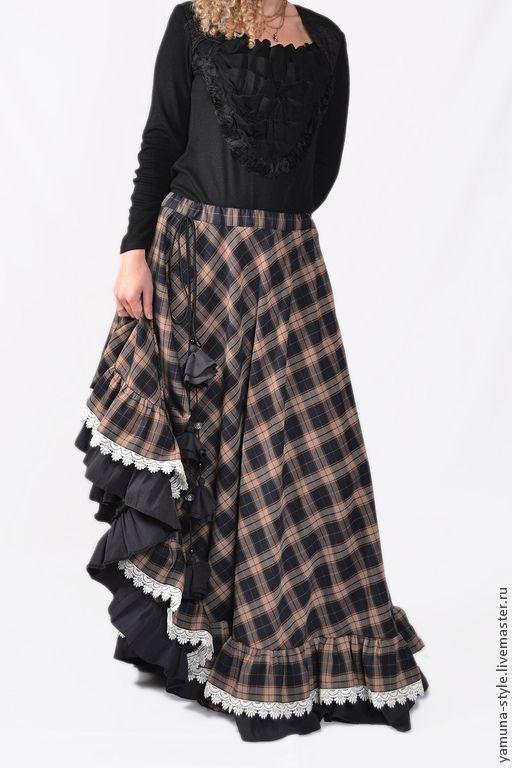Купить Юбка бохо с кружевом - коричневый, в клеточку, юбка, юбка в пол, юбка длинная