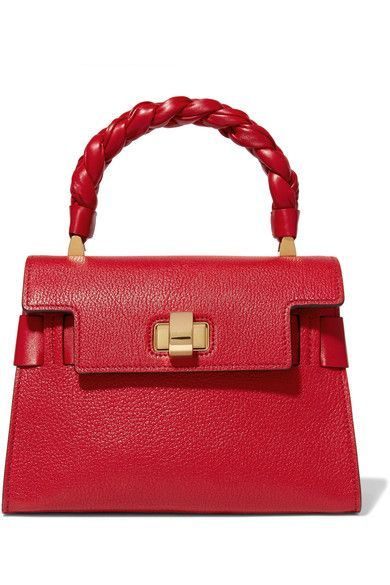 Red textured-leather (Goat)  Twist lock-fastening front flap Weighs approximately 1.5lbs/ 0.7kg Made in Italy