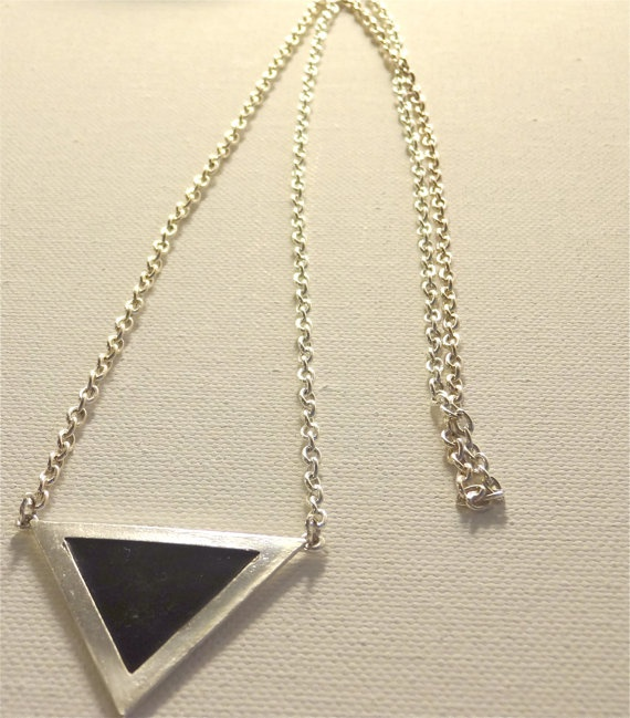 Long silver triangle pendant necklace by Kittycrabtree on Etsy, €10.00