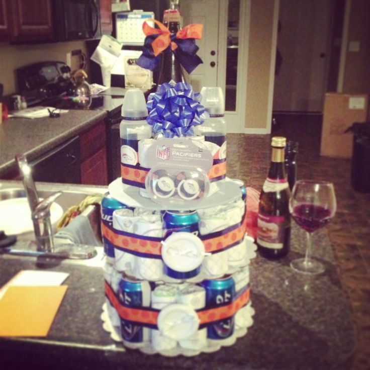Denver broncos diaper beer cake with a topper of Boulevard Beer!