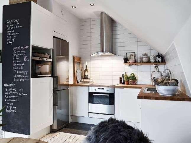 arredare una cucina ad angolo parete lavagna per la cucina