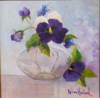 """""""Pansies in Glass Vase - Barbara Haviland"""