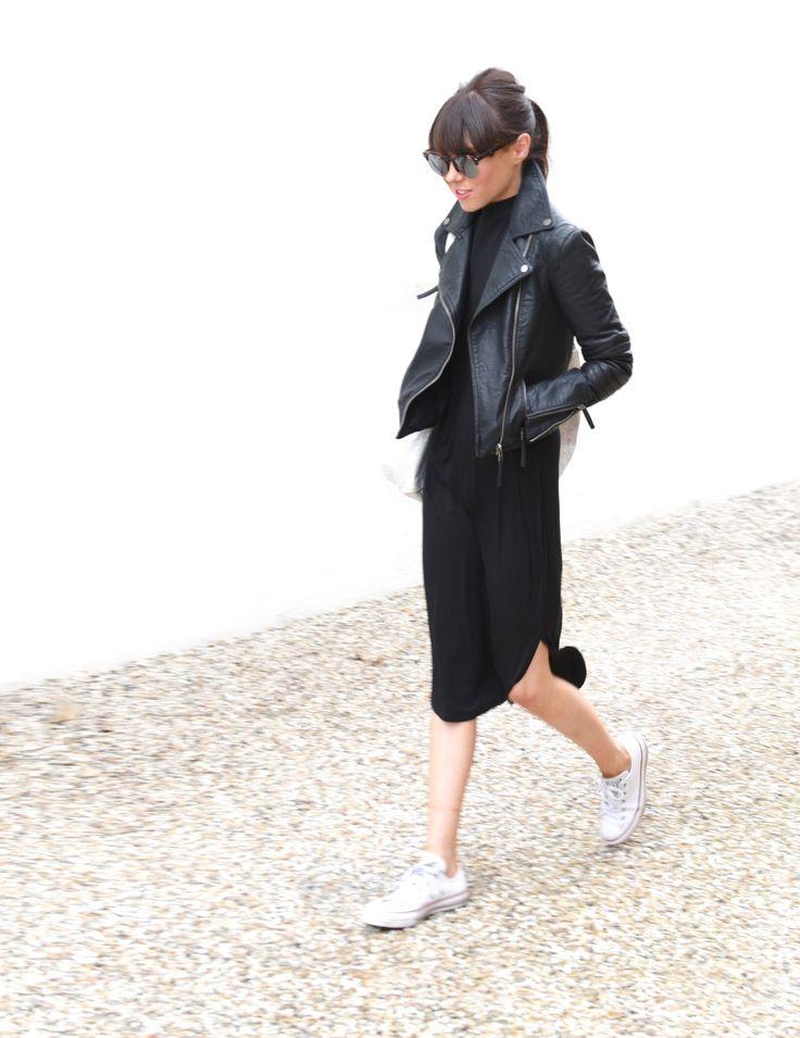 Black leather jacket, black midi dress & white sneakers