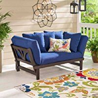 Outdoor Patio Furniture Sofa Convertible Chaise Futon Lounger, Blue Cushions