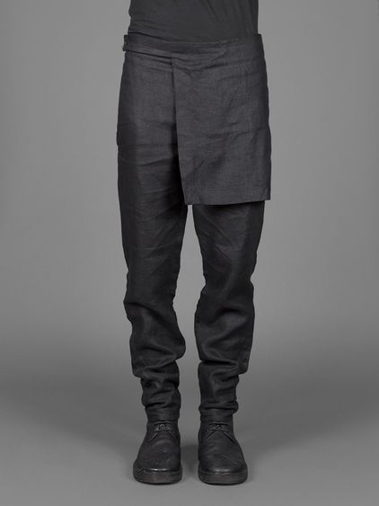 ANNA IZORCHKA MYSTERIEUX LINEN TROUSERS WITH SKIRT PANEL