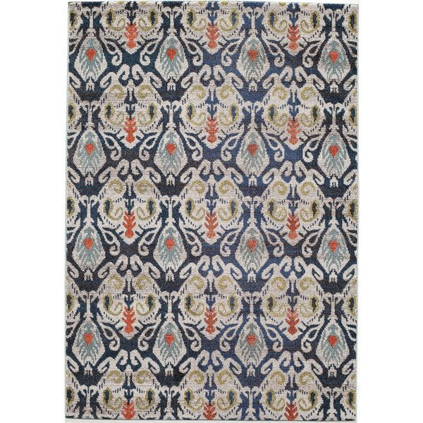 Abode Navy Power Loomed Ikat Rug 93 X 126 By Momeni Dining Room