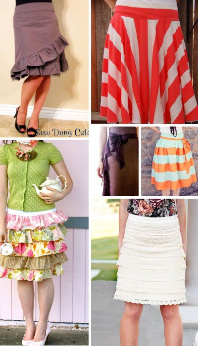 15 Free Knee Length Skirt Patterns for Adult Women.  Instructions included!
