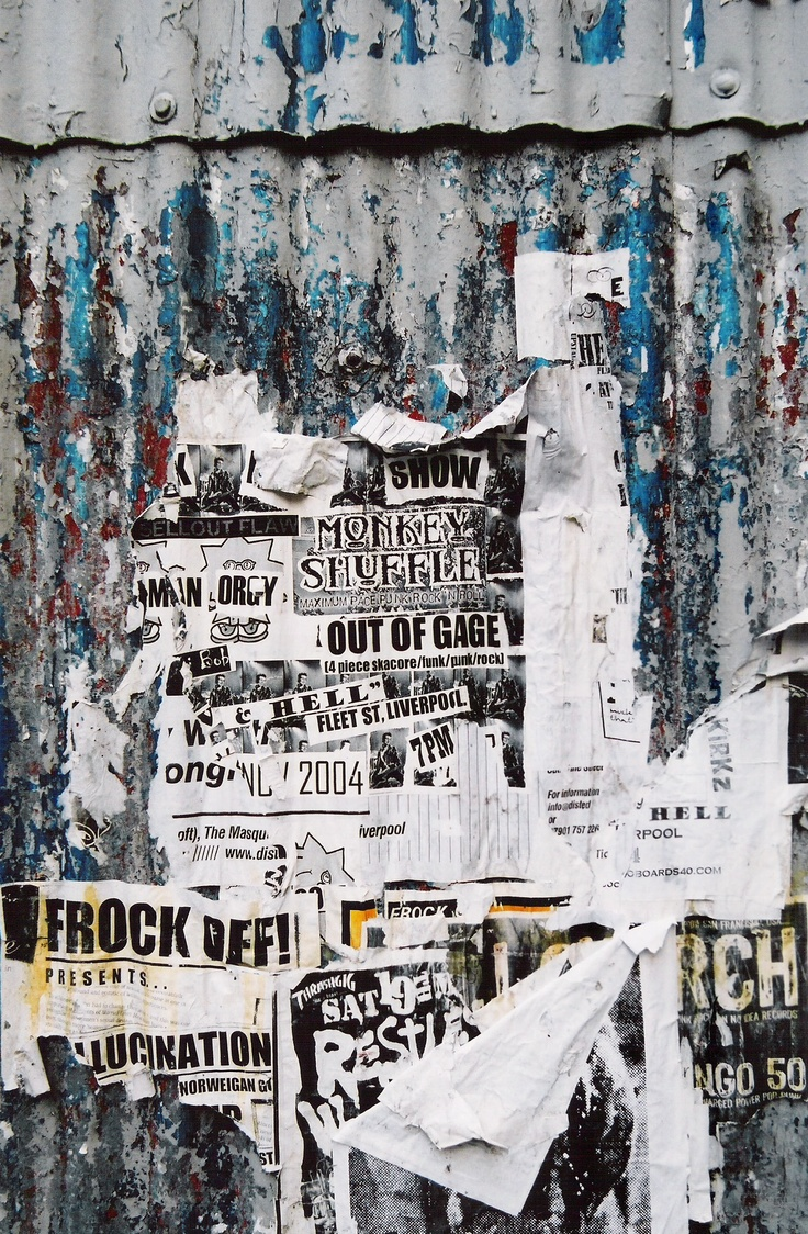 A sight/site stumbled upon in down-town Liverpool. The fragmentary hand-bills pasted up evoke several worlds. They speak of the world of music, of Liverpool, and of tempting possibilities suggested by random words: 'frock off'; 'orgy'. This image has been used as the cover for a book on the topic of 'community', and has been the stimulus for a poem.  There is no single way to read the image: it is a sort of fluid acrostic with no clearly defined sight lines.