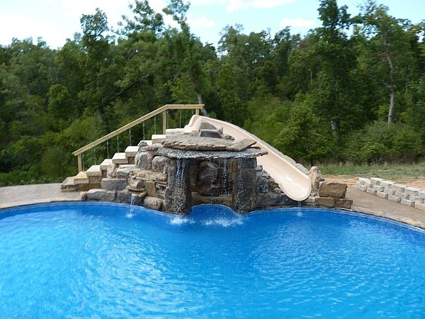 Built in swimming pool slides custom waterfall and slide for Pool design with slide