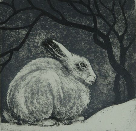 """""""The Winter Hare"""" Print by Hester Cox, Yorkshire, England."""