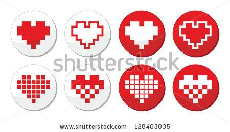 Pixeleted red heart icons by RedKoala #geek #valentines #love
