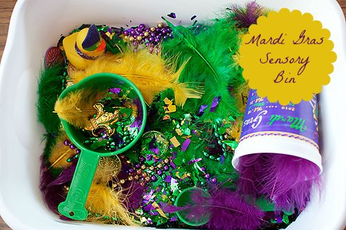 get ready for mardi gras with this cute sensory bin jeffersonparishparent creative fun. Black Bedroom Furniture Sets. Home Design Ideas