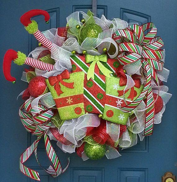 Christmas deco mesh wreath Elf wreath Elf by WonderfulWreathsKim