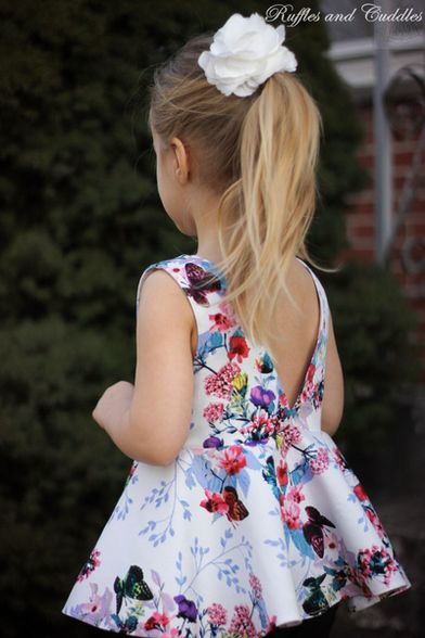 Beautiful, easy and modern child sewing PDF patterns Ayda's V Back Peplum Top & Dress. PDF sewing patterns for girls sizes 2t-12 - Simple Life Company