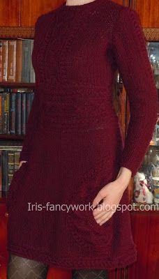 My Fancywork Blog: Темно-вишневое платье баллон связанное на спицах с...