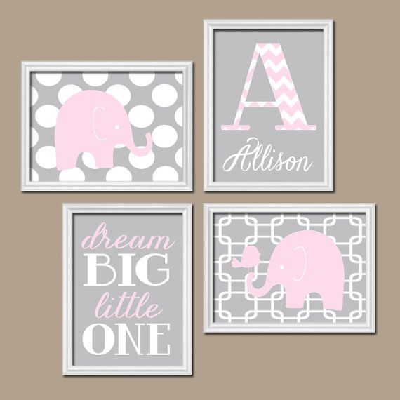 Girl ELEPHANT Nursery Wall Art, Pink Gray Nursery, Baby Girl Nursery Wall Art, Dream Big Girl Bedroom Pictures, CANVAS or Prints Set of 4