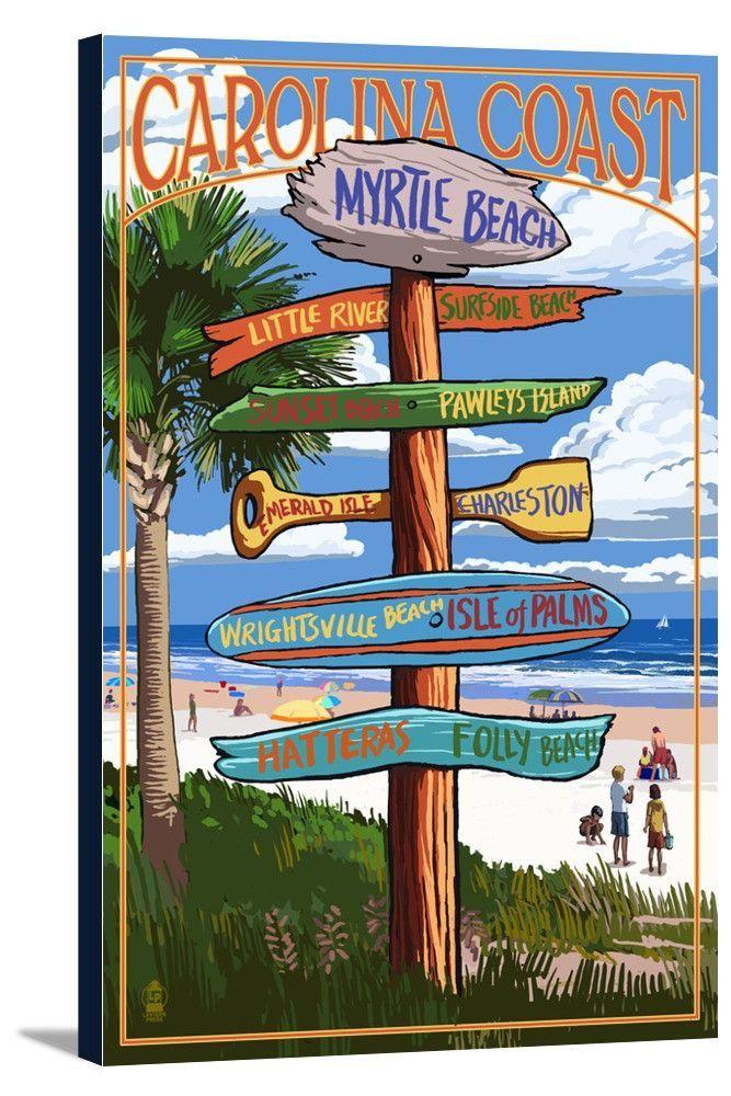 Myrtle Beach, South Carolina - Destinations Sign - Lantern Press Artwork