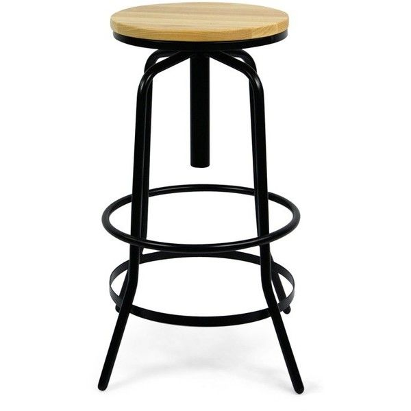 Warehouse Screw Stool Black ($140) ❤ liked on Polyvore featuring home, furniture, stools, bar stools, black barstools, black colored stool, black bar stools, colored furniture and black counter height bar stools