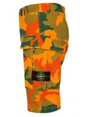 Stone Island Junior Yellow Camouflage Badge Shorts