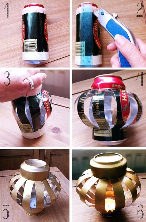 Beer can lantern. Pop an electric tea light in there. Light, cheap, easy to make. Perfect.