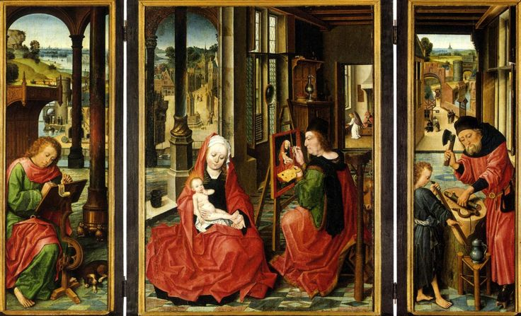 mérode altarpiece triptych of the annunciation 1: in the mérode altarpiece by the master of flémalle, the figure of joseph  appears in a wing beside the annunciation as an artisan who fashions  mousetraps  ages, and could be related by them to the sense of the main  image of the triptych.