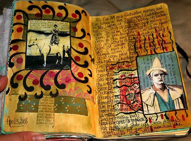 Paula Teachstm. A dark and somewhat mysterious collage, using acrylics and stencils.: Artworks Photo, Sketchbooks, Notebook Artworks, Fine Art, Stencils, Art Journaling