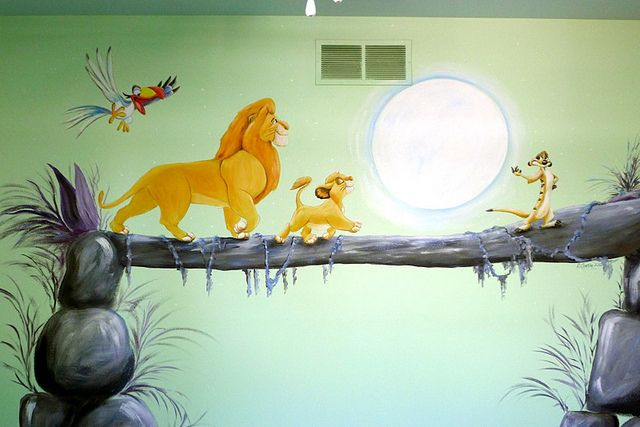 Lion King Nursery Mural. My baby is totally gonna have a lion king themed nursery. why? a child of a king and queen that's why!