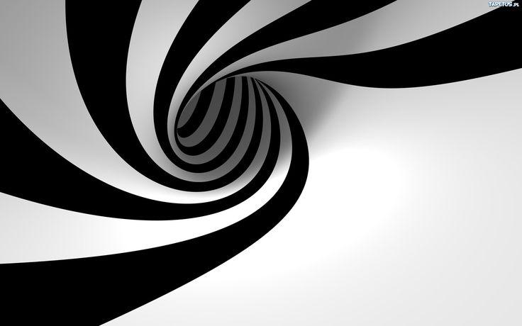 Czarno, Biały, Wir, 3D