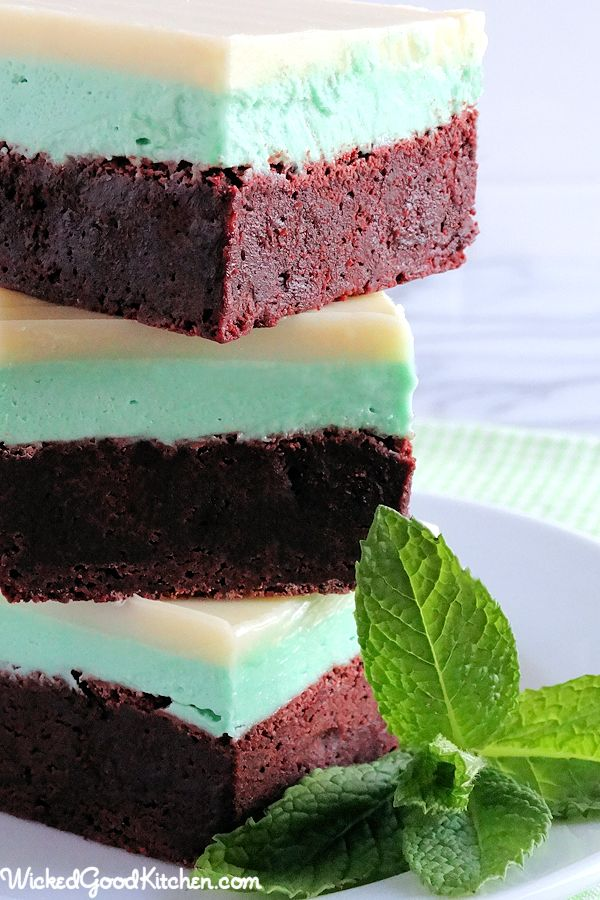 Grasshopper Brownies with White Crème de Cacao Ganache-Fudgy, rich and chewy with creamy layers reminiscent of the grasshopper cocktail to include Mint Cream Cheese Buttercream. Includes 'boozy' option.