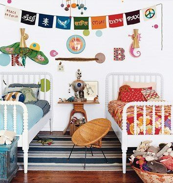 boy/girl shared room. i like how everything goes but doesn't match.