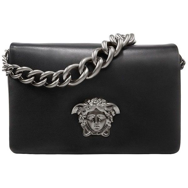 VERSACE Palazzo Medusa Shoulder Bag ($2,550) ❤ liked on Polyvore featuring bags, handbags, shoulder bags, bolsos, 100 leather handbags, real leather handbags, leather purse, genuine leather handbags and shoulder handbags