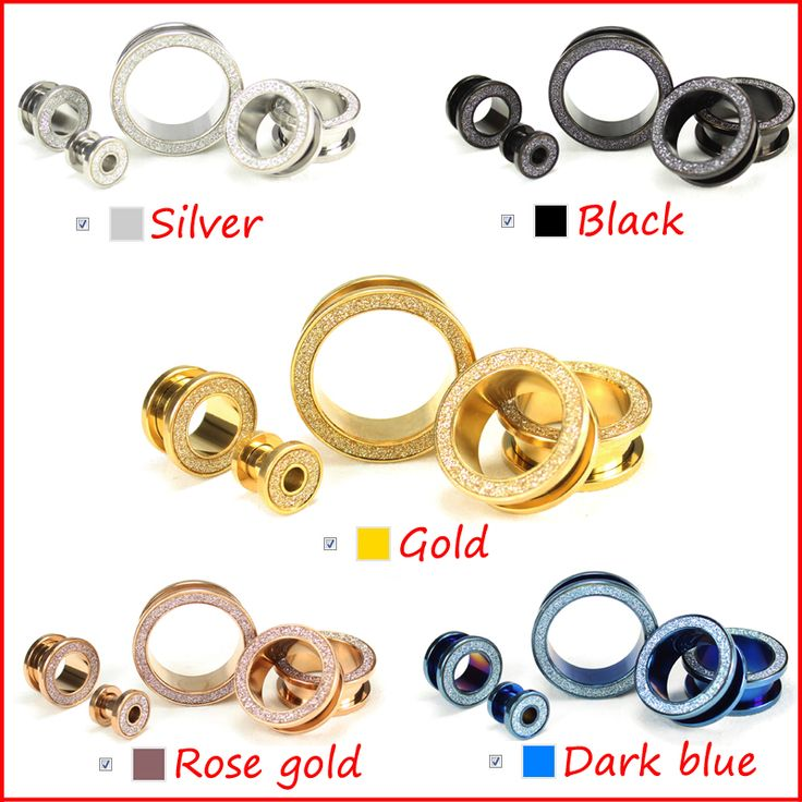 BOG- Pair New Style Sandblast  Stainless Steel Ear Plugs Hollow Expander Stretcher Tunnels Piercing Gauges 6mm To 25mm 5 Colors