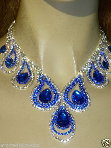Rhinestone Austrian Crystal Choker Necklace Earring Royal Blue Pageant Drag