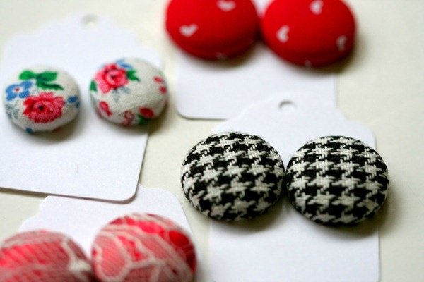 how to make fabric covered wood earrings