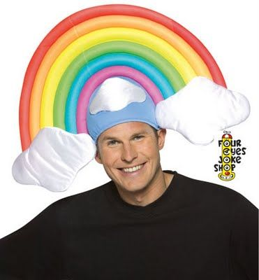 I like to wear my rainbow hat after an afternoon rain shower.: Funny Hats, Goofy Rainbows, Crazy Hats, Rainbows Hats, Goofyass Rainbows, Funny Stuff, Rainbows Costumes, Funky Hats, Costumes Hats