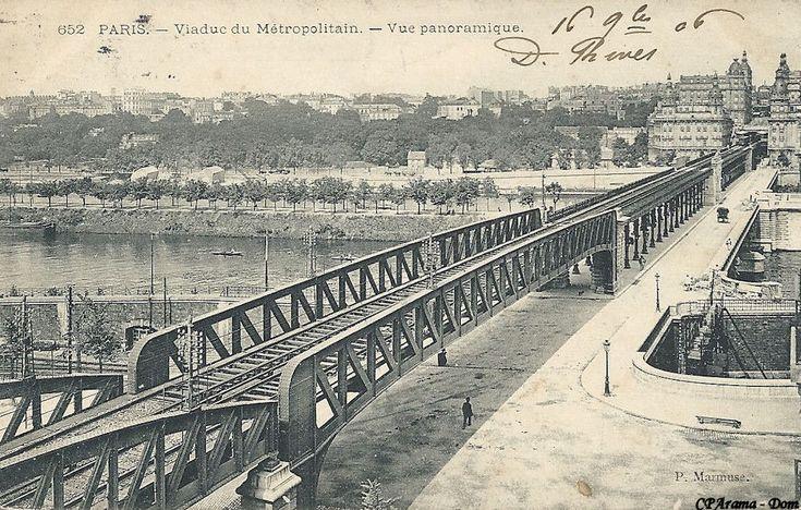 PARIS 1900 - Viaduc du Métropolitain. - Vue panoramique. (P. Marmuse) Très belle vue de la grande travée d'approche (56 mètres de longueur) qui enjambe le quai de Grenelle et les voies ferrées (Ex-Chemin de fer de l'Etat, aujourd'hui RER).