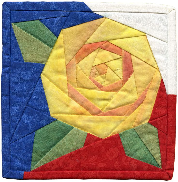 YellowRoseOfTexas made from Rosie's Rose paper piecing quilt block pattern by Piece By Number