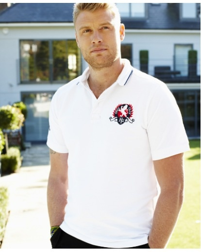 "Freddie Flintoff Crest Polo Shirt - £25 Available in Navy or White. Designed by Andrew ""Freddie"" Flintoff exclusively for Jacamo. Shop now >> http://www.jacamo.co.uk/shop/1/_/N-1ytvh3i/Ntt-Freddie+Flintoff+Crest+Polo+Shirt/products/show.action"