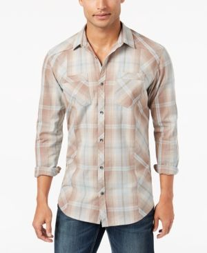 INC Men's Plaid Shirt, Created for Macy's - Green XXL