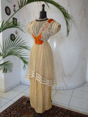 antique dress, antique gown, gown 1912, gown 1910, antique evening dress, robe ancien, Titanic era Dress, antieke jurk, antique dress for sale