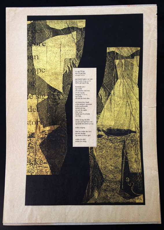 Poem. Lazer print and omnicrom foil, by Marina Winkel